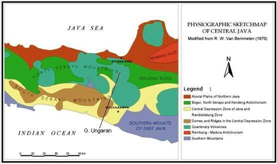 Sketsa fisiografi Pulau Jawa bagian tengah (Bemmelen,1943 vide Bemmelen, 1970, dengan modifikasi)