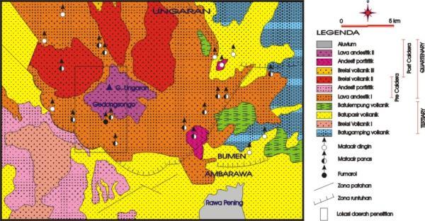 Peta geologi regional daerah Ungaran (Budiardjo, et. al., 1997)