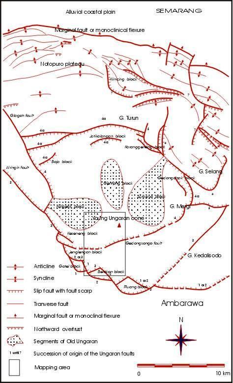 Peta Ungaran fault System dan antiklinorium utara Candi (Bemmelen, 1943 vide Bemmelen, 1970 dengan perubahan)