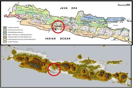 Sketsa Fisografi Jawa (Van Bemmmelen, 1949) dan Citraan Landsat (SRTM NASA, 2004)