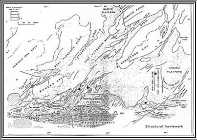 Gambar Kerangka tektonik Cekungan Jawa Timur bagian Utara (Katili dan Reinemund, 1984).