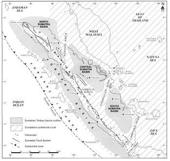 Gambar Pembentukan Cekungan Belakang Busur di Pulau Sumatra (Barber dkk, 2005).