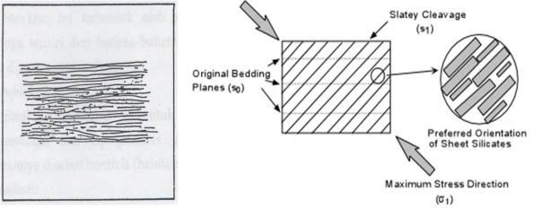 Gambar Struktur Slaty Cleavage dan Sketsa Pembentukan Struktur