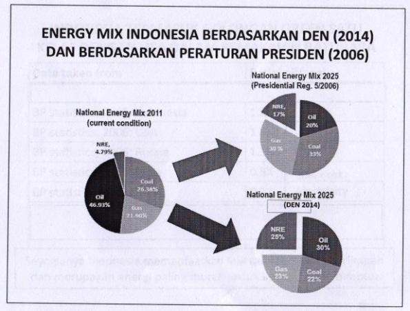 Gambar 1. Energy Mix Indonesia Berdasarkan DEN (2014)