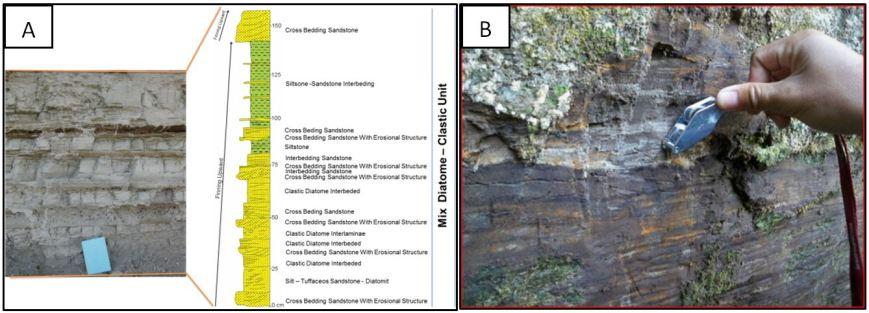 Gambar 3. Endapan Danau Toba (A) Endapan diatomit di Samosir dan B: Endapan perlapisan batulempung karbonan dan liginit di Naborshor River.