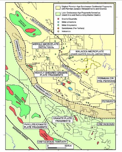 Gambar 1. Sebaran Jenis Batuan Dasar di Cekungan Sumatra Selatan (Ginger dan Fielding, 2005)
