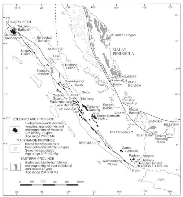 Gambar 2. Peta Sebaran Granit Sumatra (Cobbing dkk,  1992; dalam Barber dkk, 2005).