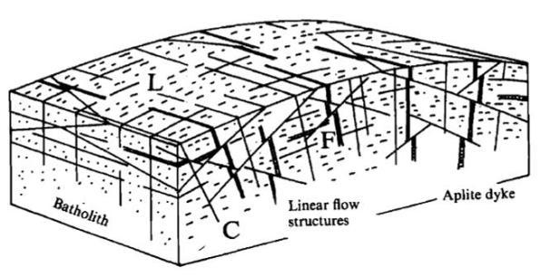 Gambar 2. Diagam yang Menunjukkan Pola Rekahan Primer di Batuan Granit (after Closs, 1992; dalam Petford dan McCaffrey, 2003).