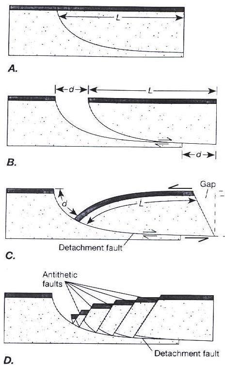 Model geometri perpindahan sesar normal listrik disertai lipatan rollover dan sesar normal antitetik (Twiss & Moores, 1992).