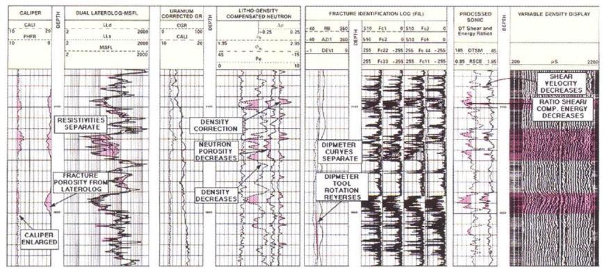 Gambar 2. Kenampakan Conventional Log pada Reservoir Batuan Dasar, Yang Menunjukkan Secara Tidak Langsung Adanya Porositas Sekunder Berupa Rekahan (Harvey dkk, 2005).