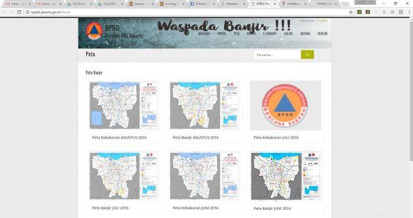 Tampilan website bpbd.jakarta.go.id dengan berbagai peta tematik kebencanaan