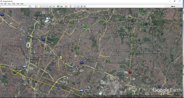 Google Earth Perumahan di Bekasi Timur dan Tambun Selatan