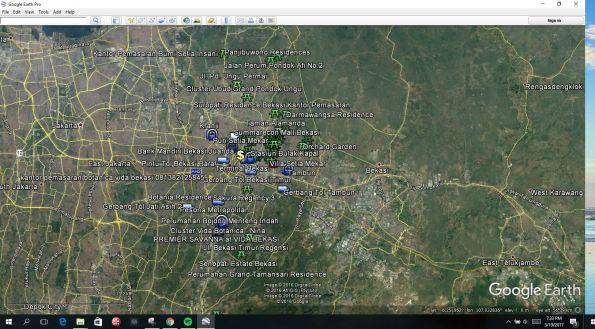 Gambar Google Earth Plot Lokasi Perumahan dan Fasilitas Penting di Bekasi