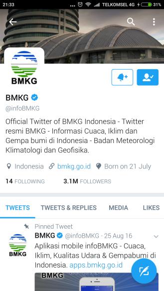 twitter BMKG yang realtime mengupdate informasi tantang informasi cuaca dan gempa bumi