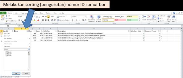 Melakukan sorting (pengurutan) nomor ID sumur bor
