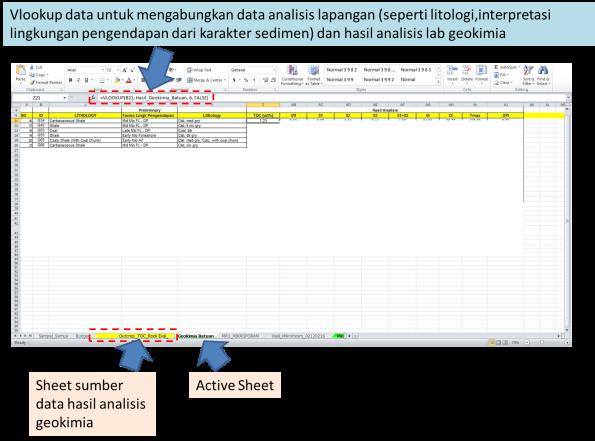 Vlookup data untuk mengabungkan data analisis lapangan (seperti litologi,interpretasi lingkungan pengendapan dari karakter sedimen) dan hasil analisis lab geokimia